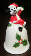 RARE Disney Santa Mickey Mouse Bell Christmas Ceramic Porcelain Figure Figurine