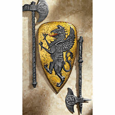 "19"" Italian Style Mythical Griffin Heraldic Villani Family Crest Wall Shield"