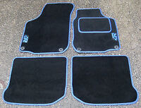 "Car Mats in Black with Blue Trim to fit VW Golf Mk4 + Blue ""R"" Logos + Fixings"