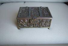 Vintage Box Bronzed Medieval Scene Trinket Wood lined