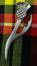 "Scottish Kilt Pin Thistle Heritage Silver Brushed Antique Finish 4"" Celtic Pins"