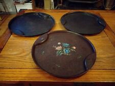 More details for trio of bakelite 28cm art deco serving trays one with floral pattern