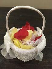 NWOT Beaded Flower Girl Basket in Ivory with Flower Petals Wedding Bridal