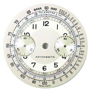 Orig Vintage Landeron L48 Chronograph / Chrono 33mm Wristwatch Dial, Swiss 1930s