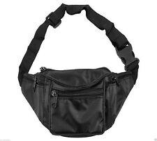 BUM BAG BLACK PVC FESTIVALS HOLIDAYS SECURE SAFE 5 ZIPPED POCKETS ADJUSTABLE
