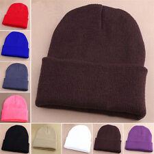 femmes Bonnet tricoté HIVER HOMME unicolore Chapeaux en laine pour 10 #