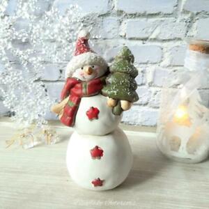 Cheery Glittery Snowman Figure With Christmas Tree