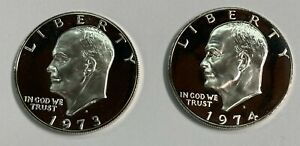 1973-S  and 1974 S Silver Proof Eisenhower Ike  (2 Coin set )