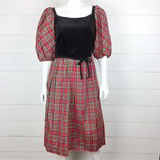 Lanz Original 9/10 Women's Red Plaid Black Velvet Christmas Dress Green Vintage