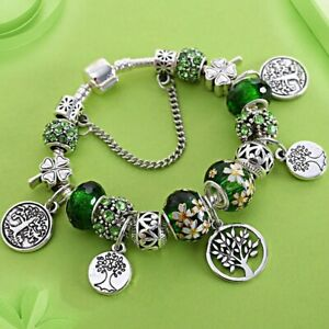 Stering 925 Silver Tree of Life Fashion Pandora Bead Bracelet Green Leaf Floral