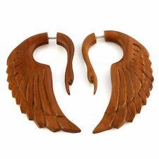 Paar Fake Piercing Ohrringe GESCHRAUBT Holz Plug F108