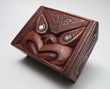 VINTAGE MAORI TIKI HAND CARVED WOODEN FEATHER TRINKET BOX NEW ZEALAND TRIBAL