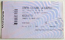 NICOLETTA : rare billet ticket concert FRANCE Saint-Loubes 03/03/2001