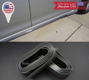 2 x 8 FT Carbon Fiber Look EZ Fit Bottom Line Side Skirt Extension Lip For BMW