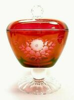VINTAGE RED CRANBERRY IRIDESCENT FLASH ETCHED GLASS PEDESTAL COVERED DISH SIGNED