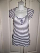 WE THE FREE FREE PEOPLE Striped Button Trim Shirt Small P + S