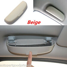 Beige Autos Interior Sunglasses Storage Box Holder Sun Glasses Eyeglass Case Kit