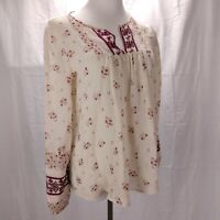 Joie Joleta Embroidered Silk Peasant Top Size M Ivory Floral Print