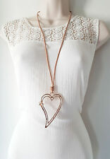 "Gorgeous 30"" long brown cord & shiny Rose gold tone heart pendant necklace #224"