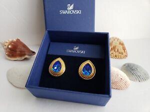 Authentic Swarovski Swan Blue Teardrop Post Earrings Gold Plated Signed