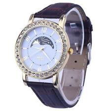 Ladies Gold Platinum Range Quartz Rhinestone Analog Brown Leather Wrist Watch.