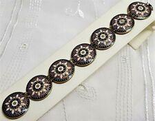 Antique Jewel Bracelet Copper Glazes Cloisonne Black White Blue Red / D9