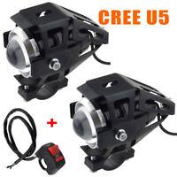 2pcs 125W CREE U5 LED Headlight Motorcycle Driving Fog Spot Light & Switch UK
