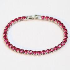 """Gorgeous Lady's Jewelry Gift Ruby Rose Topaz Gemstone Silver Chain Bracelet 8"""""""