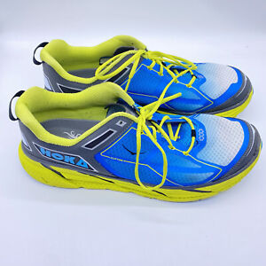 Hoka One One Clifton 1 Running Athletic Shoes Blue Neon Yellow Mens Sz 14