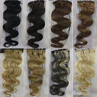 """New Lots 22"""" Remy Clips In Human Hair Extensions Body Wavy 75gr More Color"""