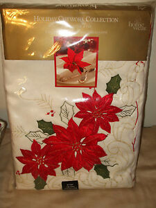 NWT Home Wear Holiday Cutwork Poinsettia Trio Tablecloth 60x84 Oblong IVORY $80