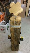 Holzbalken/Stele antik,rustikal Höhe: 90cm +2 Kerzenh. und Blumenaufsatz