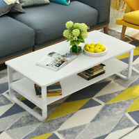 Modern Side Coffee Table Wooden Top w/Shelf Living Room Furniture Rectangle WH