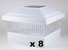 8 Solar Fence Post Cap Lights White - For 5x5 PVC Vinyl Posts PL245