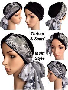 HEADWEAR FOR HAIR LOSS, 2 PIECE TURBAN & SCARF, CHEMO HATS, ALOPECIA