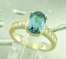 14k Solid Yellow Gold 3.64 ct Natural Diamond & Oval Blue Zircon Ring 4.7 Grams