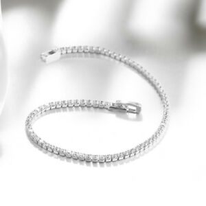 Crystal Tennis Silver Plated Bracelet  Christmas Gift