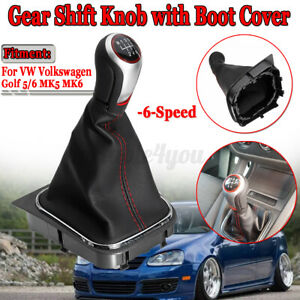 6 Speed Gear Shift Knob Stick Shifter + Boot Cover Gaiter Car For VW Golf MK 5 6