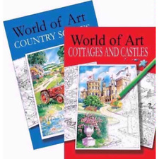 Adult Relaxing Colouring Book Set of 2 WORLD OF ART - Art Therapy Books