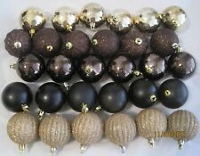 Christmas Ball Ornaments (30) Unbreakable Shatterproof Brown Black Gold