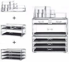 Makeup Storage Box Case LARGE Display Set Holder, Stackable & Detachable Drawers