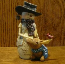 """Birch Hearts Snowmen Figurine #81142 """"Friends Are A Blessing"""" by BARB McDONALD"""