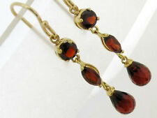 E060- Beautiful Genuine  9ct SOLID Yellow Gold NATURAL Garnet Drop Earrings