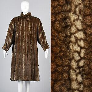 XXL Vintage Fendi I Magnin Russian Squirrel Fur Swing Coat Winter Made in Italy