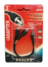 """New listing New - Philips Ph62103 Shielded 3"""" Y Cable Rca Male Plug to Dual Rca Female Jacks"""