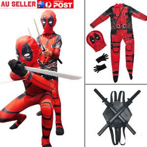 Adults Kids Deadpool Man Spandex Lycra Zentai Halloween Costume Cosplay Prop