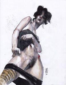 Willette 2+3 LOT2X 11x14in Ballpoint - Nude Figure Leo Charre #X2BW
