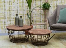 2er Set Coffee Table Robin round Metal Basket Storage Space Side Sofa Copper