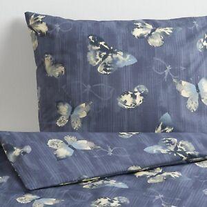 Ikea BERGKAREL King size Duvet Cover & 2 Pillowcases - Dark blue/butterfly