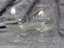 2 MARTELL COGNAC  GLASSES FRANCE SNIFTER BAR GLASS HOUSE OF SEGRAMS